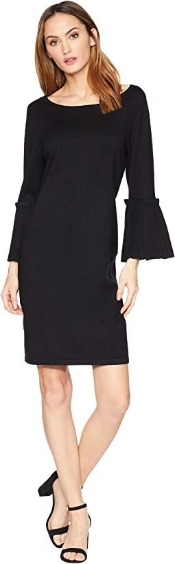Pleated Sleeve Sweater Dress