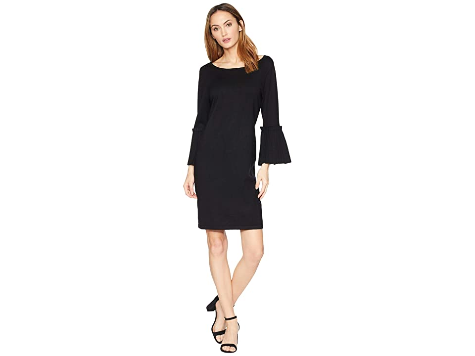 Ivanka Trump Pleated Sleeve Sweater Dress (Black) Women