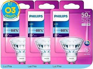 Lâmpada Led GU10 Dicróica 6w Luz Fria Philips (Kit Com 3)