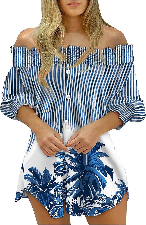 Wuztai Womens Dresses 2021 Graphic Print Half Sleeve Off Shoulder Dress Button Down Irregular Hem Fashion Mini Shirt Dress