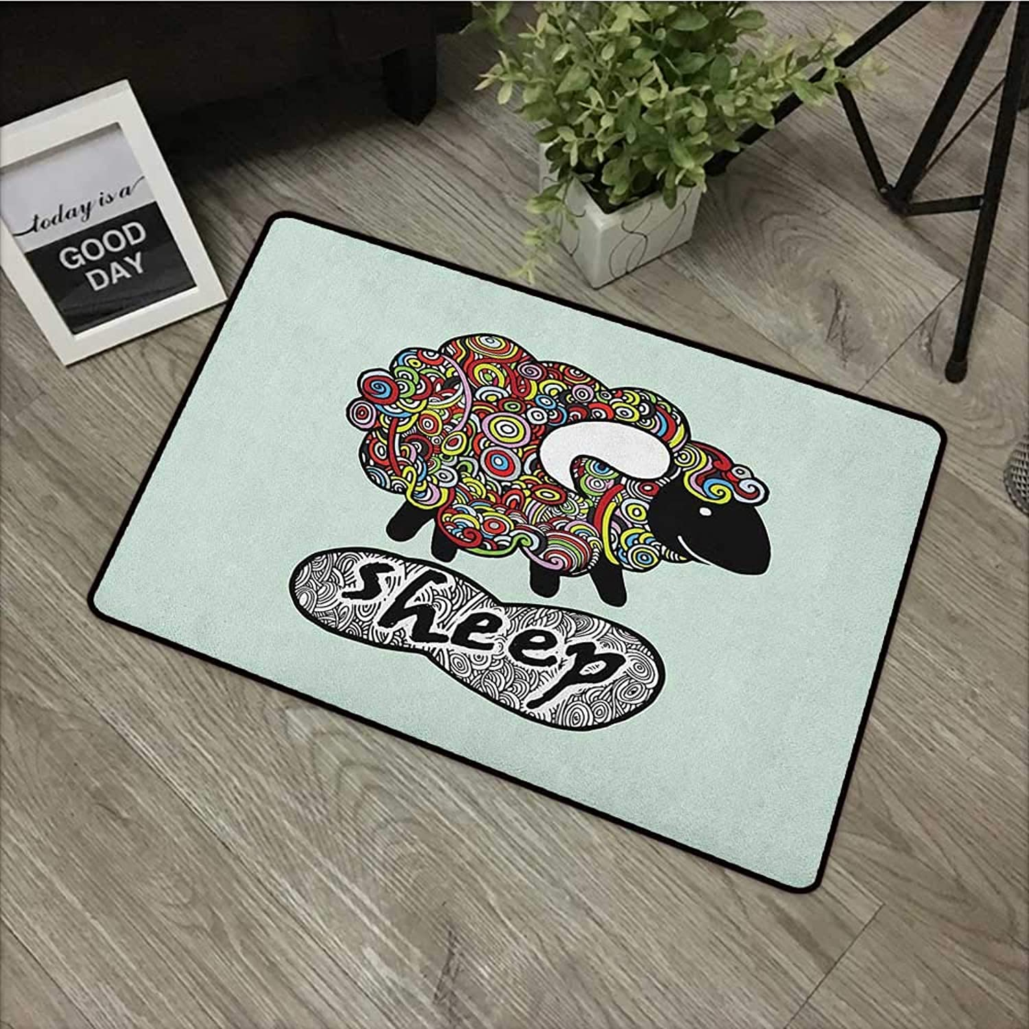 Pool Anti-Slip Door mat W35 x L59 INCH Indie,Hipster Doodle Funny Sheep with colorful Spiral Swirls Drawing Style Comic Country, Multicolor Non-Slip, with Non-Slip Backing,Non-Slip Door Mat Carpet