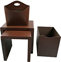 Instant Mosaic Brown Watercolors Leatherette Side Tables and Storage Accessories (Set of 4), 50104