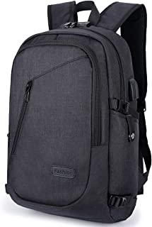 AmazingBag Laptop Backpack, Anti Theft Backpacks Waterproof Travel Bag with USB Charging Port & Headphone Interface for Men Women Students,Fits 15.6 Inch Laptop & Notebook (Black)