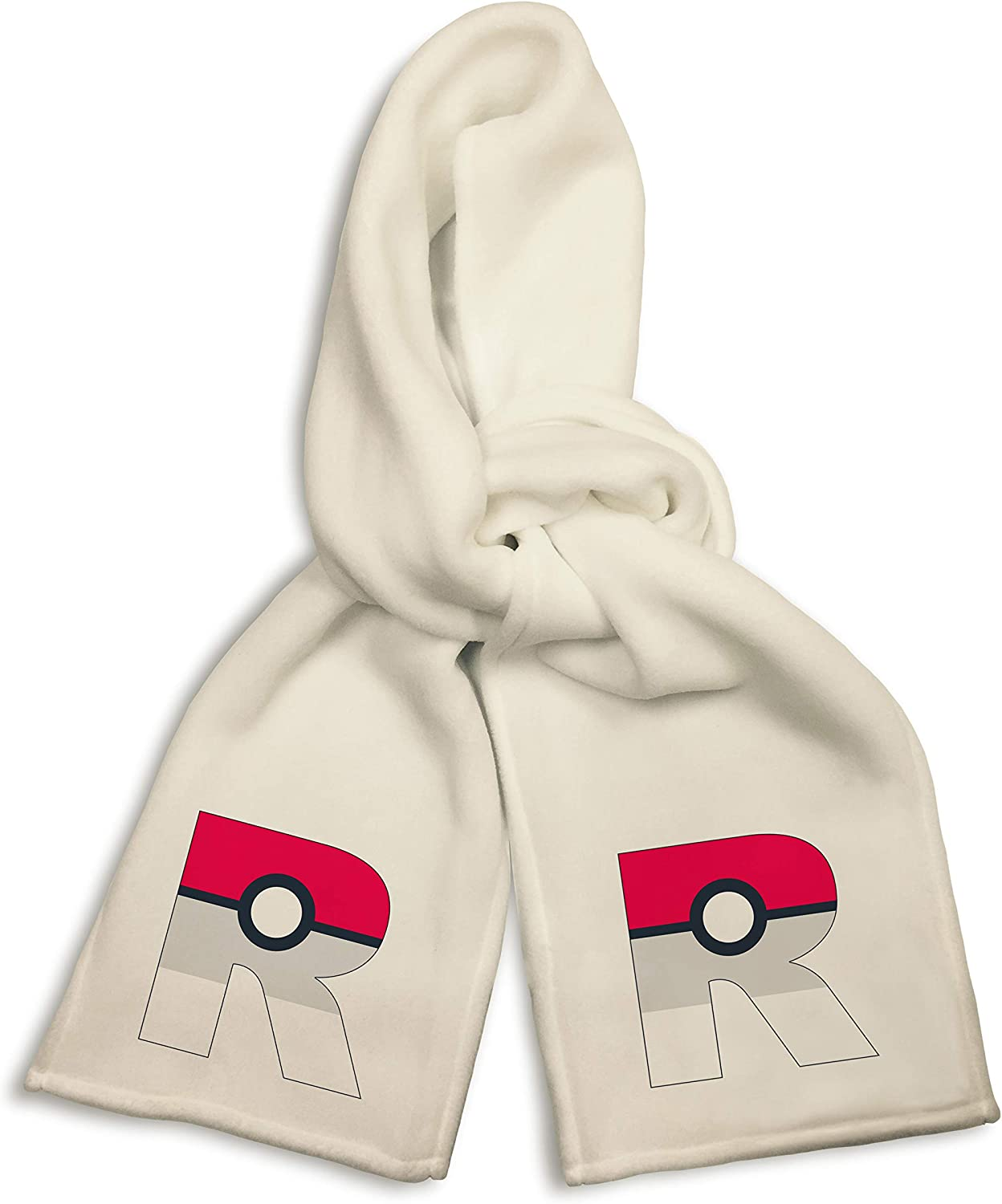 White Winter Scarf - Letter R Red Grey and White Game Capture Ball Parody