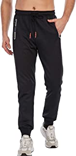 Men's Slim Fit Jogger Sweatpants Tapered Athletic Training Pants with Zip Pockets
