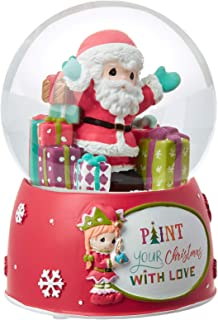 Precious Moments Paint Your Christmas with Love 11th Santa 4th Annual Elf Resin and Glass Musical Snow Globe 191103 Waterball, One Size, Multi