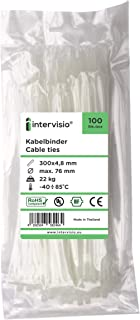 """Cable Ties 300mm x 4.8mm, White, Neutral, Natural, 300 mm - 12"""" Premium Tie Wraps Nylon Zip Ties Wrap, 100 Pieces by inter..."""