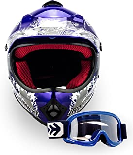 ARMOR Helmets AKC-49 Kinder-Cross-Helm, DOT Schnellverschluss Tasche, S 53-54cm, Blau