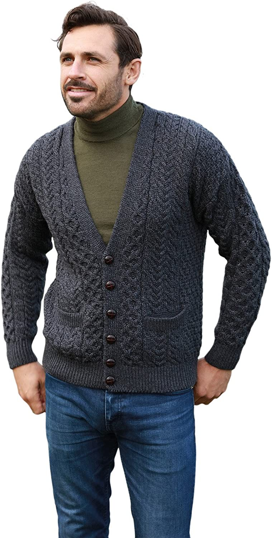 Irish Cardigan for Men's 100% New product gift Merino I Made Aran Sweater in Wool