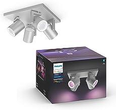 Philips Hue Argenta Opbouwspot 4-Lichts - Duurzame LED Verlichting - Wit en Gekleurd Licht - Dimbaar - Verbind met Bluetoo...