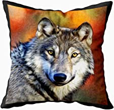 EMMTEEY Home Decor Throw Pillowcase for Sofa Cushion Cover,Wolf Art Painting Decorative Square Accent Zippered and Double Sided Printing Pillow Case Covers 16X16Inch