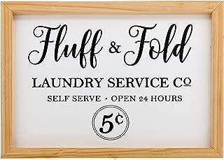"Barnyard Designs Fluff & Fold Laundry Service Sign Laundry Room Wall Decor 16"" x 12"""