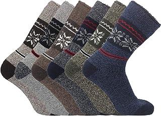 SMG® Men's Thermal Soft Wool Blend Boot Walking Socks 6 Pair Pack UK Shoe 6-11