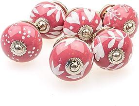 Möbelknopp möbelknopp möbelhandtag set av 6 096GN blandad gammal rosa silver – jay knapp keramik porslin handmålade vintag...