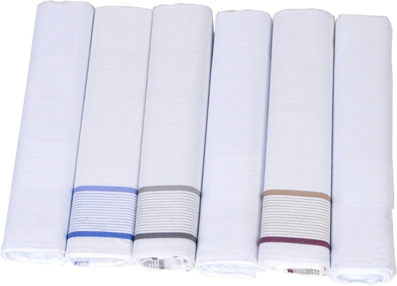 Umo Lorenzo 6 Pack White Pure Cotton Handkerchiefs