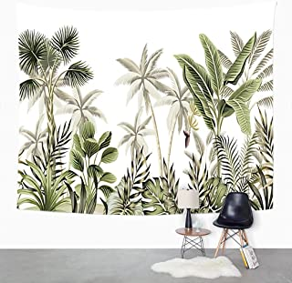 Hosima Tropical palm tree Tapestry Vintage Botanical Landscape Banana Tree Plant Floral Border Wall Tapestry Art Wall Hang...