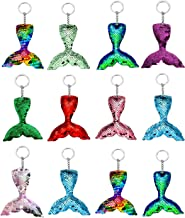 Hapy Shop 12 Pieces Mermaid Keychain,Decorative Reversible Sequin,Pawliss Mermaid Party Favors,Keys Handbags Wallets for Magic Birthday Party Favor,Women, Girls 9 Colors
