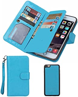 Prime Sale & Deals Day 2017-For iPhone 6/6s Wallet Case,Valentoria Leather Wallet Case Magnetic Detachable Slim Back Cover Card Holder Slot Wrist Strap(iPhone 6/6s, Turquoise)