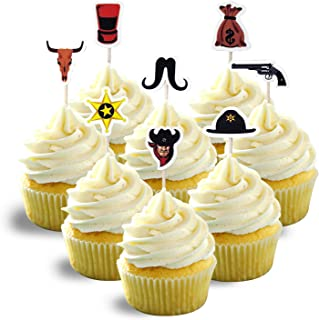 Cowboy Sheriff West Decoration Cupcake Topper Cardstock Color 18pc per pack 1 pack