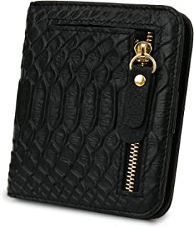 Genuine Leather Wallet Women's RFID Blocking Small Compact Ladies Mini Purse with ID Window