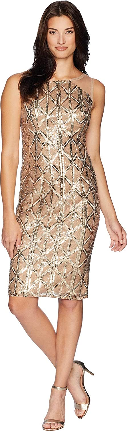 Adrianna Papell Womens Stretch Sequin Cocktail Dress Illusion Shoulders