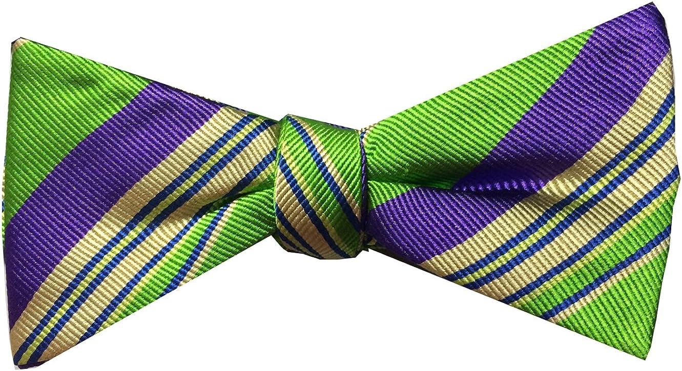 Countess Mara Pre-tied Bow Tie, Citrus Stripe, Green/Purple