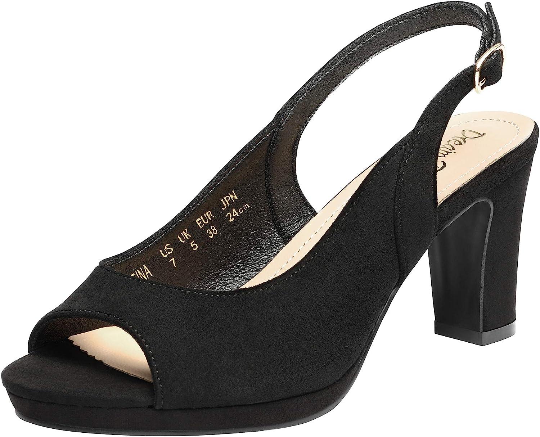 1940s Women's Footwear DREAM PAIRS Women's Sexy High Chunky Heels Peep Toe Platform Block Slingback Dress Pumps Shoes  AT vintagedancer.com