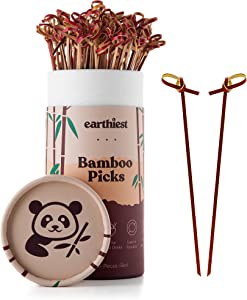 Bamboo Knotted Cocktail Picks for Appetizers – 6 inch Red Bamboo Skewers (100 Pack) – Bamboo Food Picks – Party Toothpicks for Appetizers Fruits and Cocktail Drinks