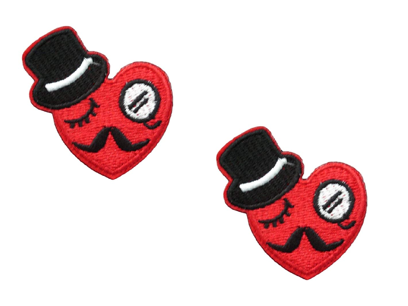 2 Pieces Red Moustache Heart Iron On Patch Applique Embroidered Motif Fabric Love Scrapbooking Decal 1.9 x 1.9 inches (4.75 x 4.75 cm)