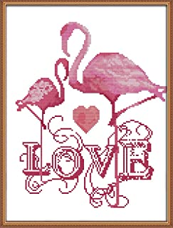 Cross Stitch Kits, The Love of Flamingo Awesocrafts Easy Patterns Cross Stitching Embroidery Kit Supplies Christmas Gifts, Stamped or Counted (Flamingo, Counted)
