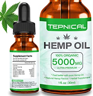 Hemp Oil with 5000mg of Organic Hemp Extract for Pain, Anxiety & Stress Relief - 100% Natural Hemp Oil Drops, Helps with S...