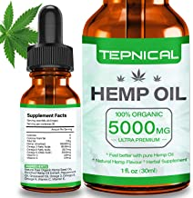 Hemp Oil with 5000mg of Organic Hemp Extract for Pain, Anxiety & Stress Relief - 100% Natural Hemp Oil Drops, Helps with Sleep, Skin & Hair