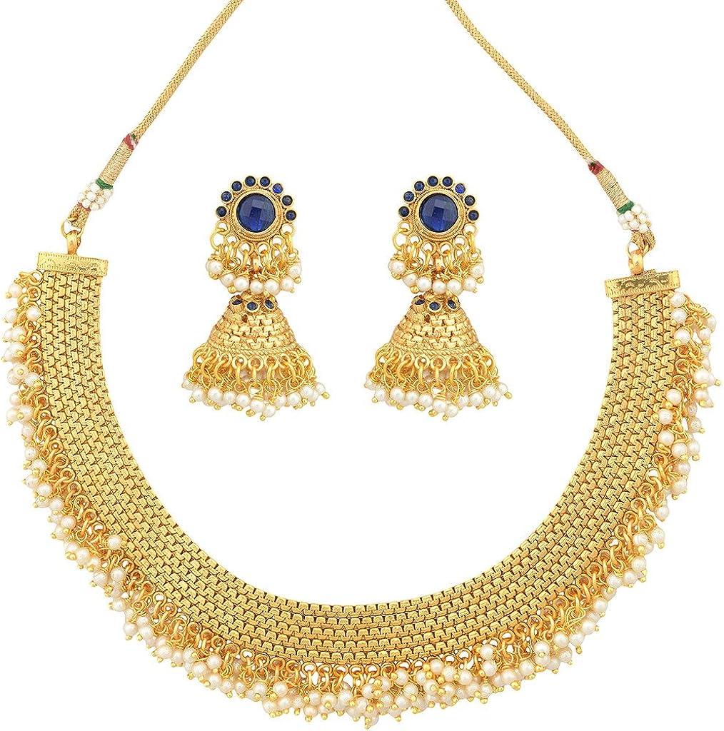 ADIVA Kundans Maroon Green Copper Alloy Ethnic Indian Jewelry for Women Bridal Kundan Like Necklace Set