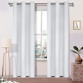 DWCN Blackout Curtains - Room Darkening Thermal Insulated Living Room and Bedroom Curtains 38 x 84 inches Long, Set of 2 Window Curtain Panels, Greyish White