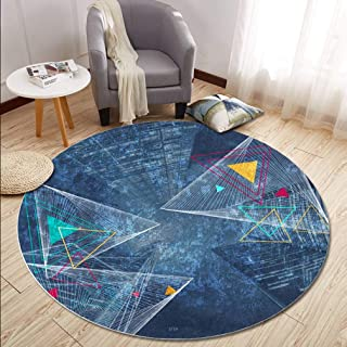 MOXIC Geometric Round Area Rugs Soft Living Room Bedroom Children Kids Crawl Rug Bathroom Mats Anti-Slip Carpet Home Decorate Modern Nordic Circular Nursery Runners 3' X 3'