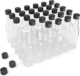 Glogex Empty Glass Hot Sauce Bottles (30 Pack, 5 Oz) with Leak Proof Black Screw Caps and Snap On Dripper Inserts