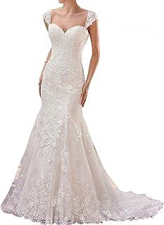 906550441c5 JAEDEN Robes de mariée Sirène Femme Robe de Nuptiale Robe de Mariage Longue  Dentelle Dos Nu