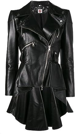 4747f7e221e5 Takitop Medusa Black Peplum Fashionable Designer Genuine Leather Jacket  Women Missy Plus Size