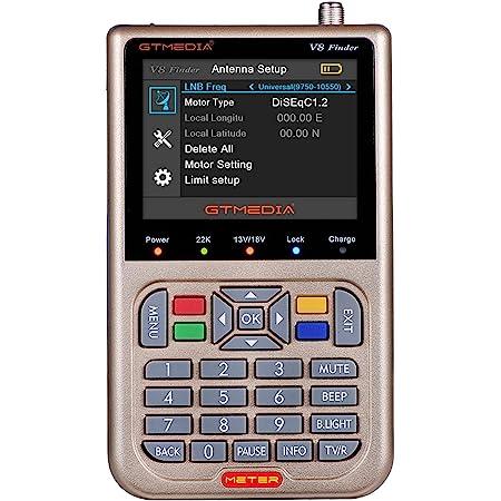 """GT MEDIA V8 Sat Finder Meter DVB-S/S2/S2X Localizador de señal de Satélites Digital Medidor de Campo 3.5"""" LCD Display Ajuste óptimo de Antenas parabólicas + Batería 3000mAh"""