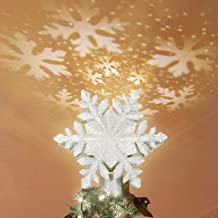 KINGWILL Christmas Tree Toppers, 2-in-1 Silver Glittered Lighted Tree Topper with Snowflake Projector, Indoor Night Light Projector for Christmas Nursery Bedroom Holiday Decoration