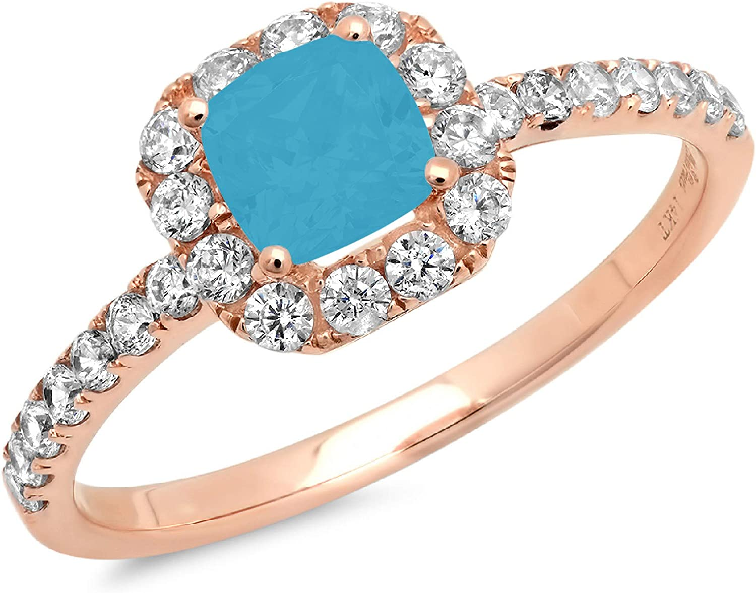 1.34ct Brilliant Princess Cut Solitaire with accent Flawless Ideal VVS1 Simulated Blue Turquoise CZ Engagement Promise Statement Anniversary Bridal Wedding Designer Ring 14k Rose Gold
