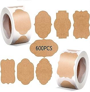 JIASHA 1000 Étiquettes Kraft Autocollant Papier,Vintage éTiquette Kraft Faite à La Main D'éTanchéIté Autocollant, pour Emb...