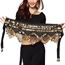 Pilot-trade clothing trade co.,Ltd Wuchieal Women's Sweet Bellydance Hip Scarf with Gold Coins Skirts Wrap Noisy