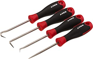 ARES 70256 - Precision Hook and Pick Set - 4-Piece Set Includes Precision 90 Degree, Hook, Combination and Straight Hooks and Picks - Chrome Vanadium Steel Shaft - Easily Remove Hoses and Gaskets