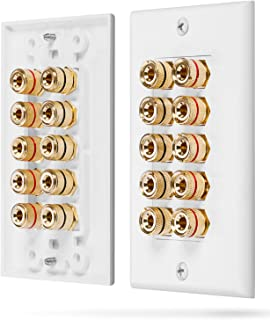 Fosmon [Five Speaker] Home Theater Wall Plate - Premium Quality Gold Plated Copper Banana Binding Post Coupler Type Audio Wall Plate for 5 Speakers (White)