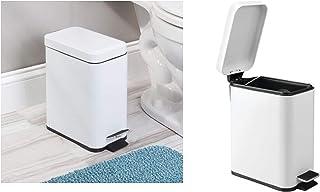 iDesign poubelle cuisine, mini poubelle en plastique et métal, poubelle de bureau avec couvercle pour la cuisine ou la sal...