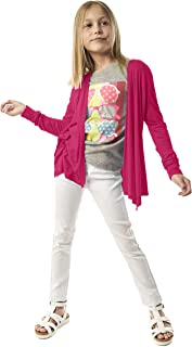 bdca0734f6 KIDPIK Cardigan for Girls – Open Front Spring Summer Sweater w Long Sleeves  in Fuchsia