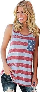 Women's Racerback American Flag Tank Tops Patriotic Shirt...