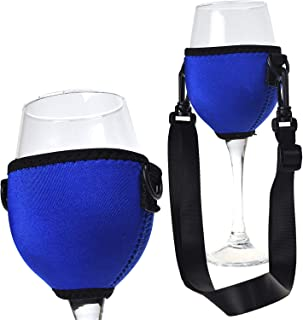 Beautyflier Assorted Colors Wine Glass Insulator/Drink Holder/Neoprene Sleeve with Adjustable Neck Strap For Conference Cocktail Reception (Blue)