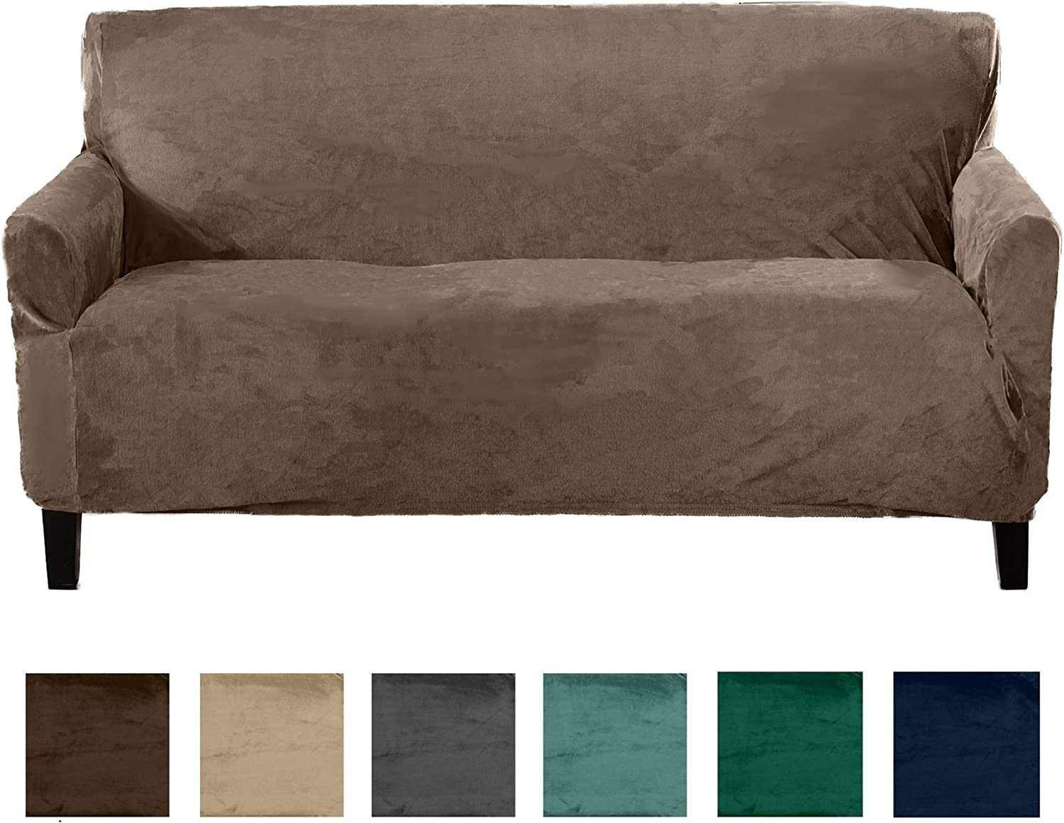 Great Bay Home Form Fit, Slip Resistant, Stylish Furniture Shield Predector Featuring Velvet Plush Fabric Magnolia Collection Strapless Slipcover (Sofa, Walnut Brown)